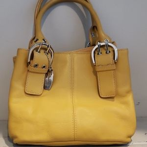 Tignanello yellow leather shoulder bag